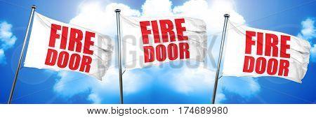 fire door, 3D rendering, triple flags