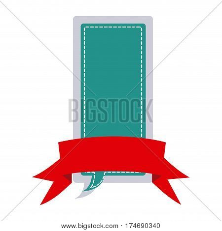 sticker large rectangle dialog box design with ribbon vector illustration