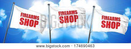 firearms shop, 3D rendering, triple flags
