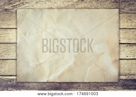 Old Paper On Wood Background Vintage With Space