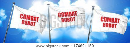combat robot sign background, 3D rendering, triple flags