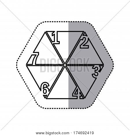 monochrome contour sticker of hexagon figure with sections and numeration vector illustration