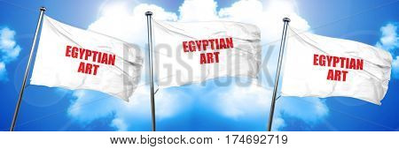 egyptian art, 3D rendering, triple flags
