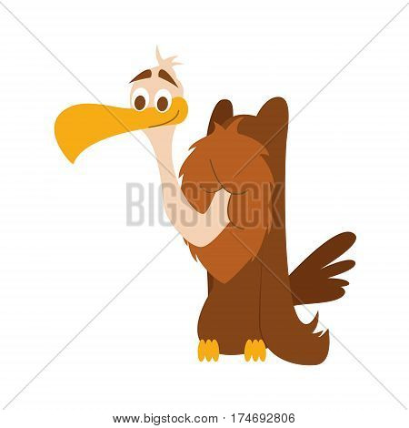 Cute vulture in cartoon style vector illustration