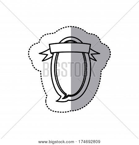 monochrome contour sticker of oval balloon dialog box design with ribbon vector illustration