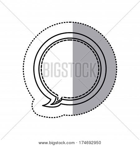 monochrome contour sticker of circular balloon frame callout dialogue vector illustration