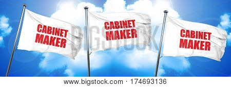cabinet maker, 3D rendering, triple flags