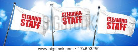 cleaning staff, 3D rendering, triple flags