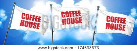 coffee house, 3D rendering, triple flags