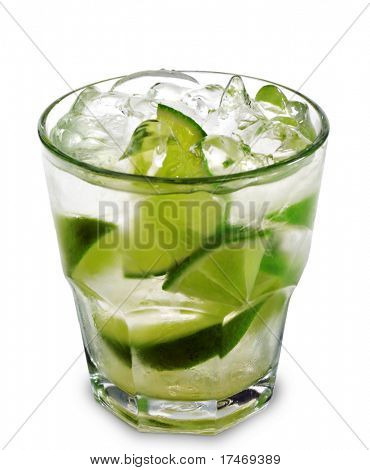Caipirinha - National Cocktail of Brazil Made with Cachaca, Sugar and Lime. Isolated on White Background poster