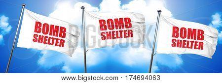 bomb shelter, 3D rendering, triple flags