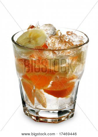 Alcoholic Cocktail with Cachaca (Brazil Rum) and Fruit Juice Served with Lime Slice. Isolated on White Background
