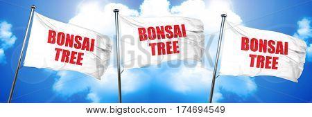 bonsai tree, 3D rendering, triple flags