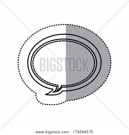 monochrome contour sticker of oval bubble frame callout dialogue vector illustration
