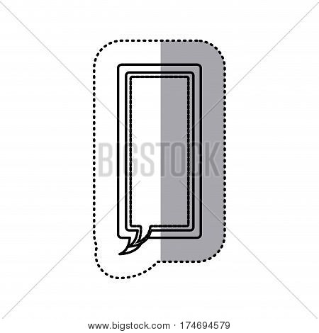 monochrome contour sticker of large rectangle frame callout dialogue vector illustration