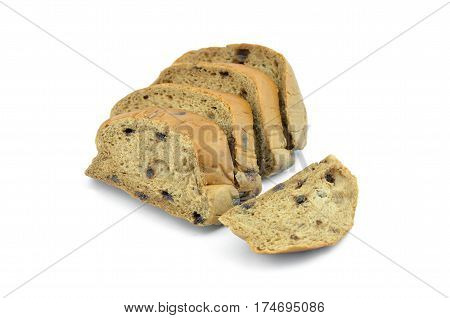 Homemade chocolate bread with chocolate chips on a white background.