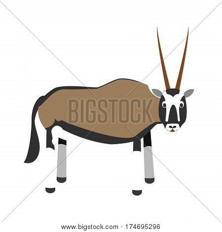 Cute oryx gazelle in cartoon style vector illustration