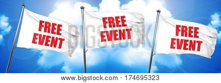 free event, 3D rendering, triple flags