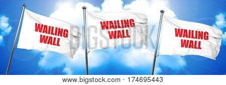 wailing wall, 3D rendering, triple flags