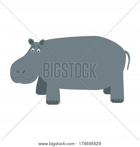 Cute hippo in cartoon style vector illustration