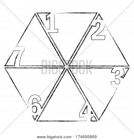 monochrome blurred contour of hexagon figure with sections and numeration vector illustration