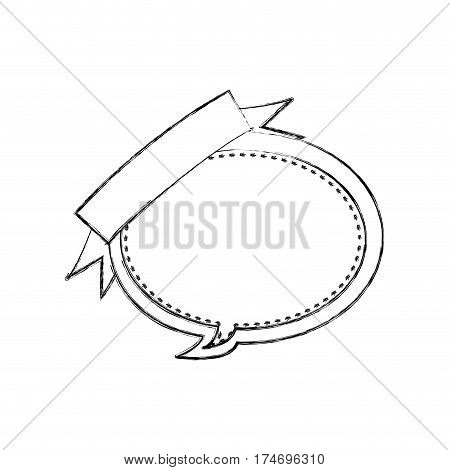 monochrome blurred contour of balloon dialog box design with ribbon vector illustration