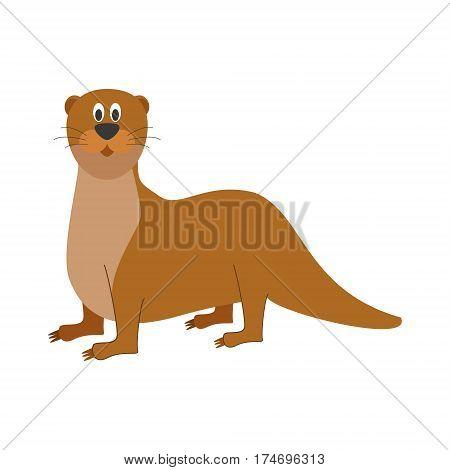 Cute otter in cartoon style vector illustration