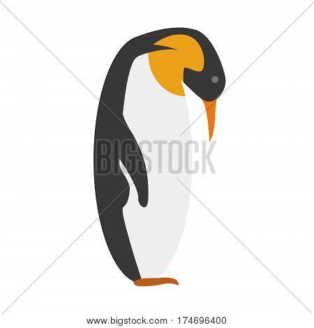 Cute Emperor penguin in cartoon style vector illustration