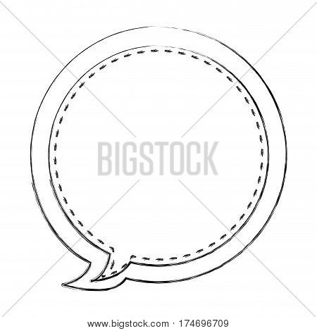 monochrome blurred contour of circular balloon frame callout dialogue vector illustration