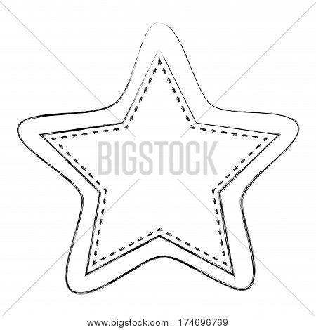 monochrome blurred contour of star shape frame callout dialogue vector illustration