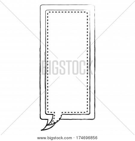 monochrome blurred contour of large rectangle frame callout dialogue vector illustration