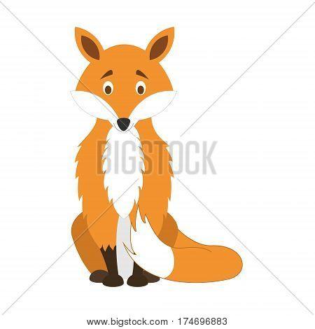 Cute fox in cartoon style vector illustration