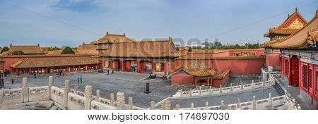 Beijing, China - Oct 30, 2016: Panorama of side gate house leading to a vast courtyard, near the Gate of Heavenly Purity, or Celestial Purity (Qianqingmen). Forbidden City (Gu Gong, Palace Museum).