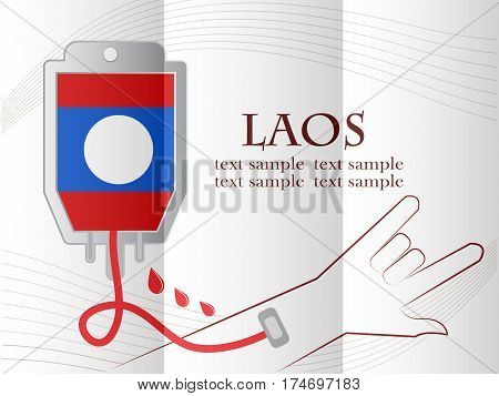 blood donation design made from the flag of Laos conceptual vector illustration.