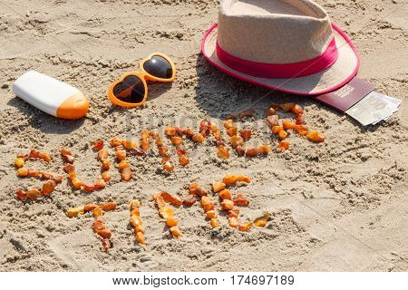 Inscription Summer Time, Accessories For Sunbathing And Passport With Currencies Euro On Sand At Bea