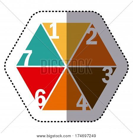 sticker colorful hexagon figure with sections and numeration vector illustration