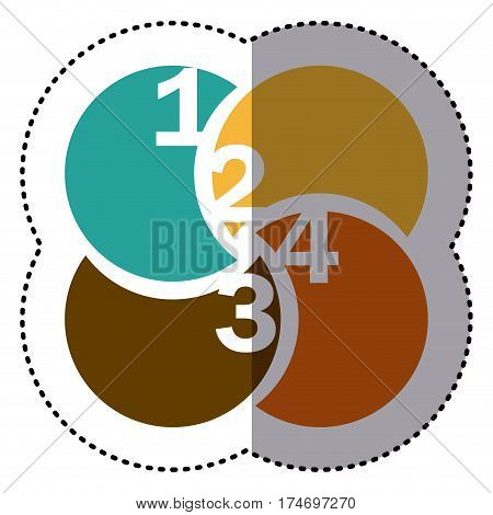 sticker colorful circular figures with numeration vector illustration