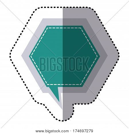 color sticker hexagon frame callout dialogue vector illustration