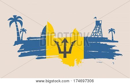 Vintage seaside view poster. Vector background. Palm and safeguard tower on the beach. Yacht in the ocean. Silhouettes on grunge brush stroke. Flag of Barbados