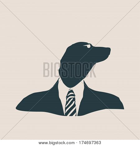 Dachshund dog dressed up in black suit. Silhouette of a dog head. Vector Illustration. Monochrome gamma. Businessman metaphor