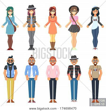 Hipster Style Bearded Man Young Woman, Character Set Avatar Flat Collection Geek Pack Guys Girls Set