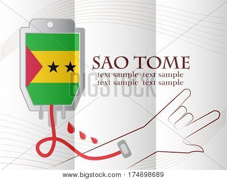 blood donation design made from the flag of Sao Tome conceptual vector illustration.