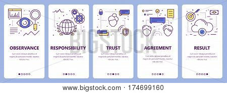 Vector set of commitment concept vertical banners. Observance, responsibility, trust, agreement and result concept elements. Thin line flat design symbols, icons for website menu, print.