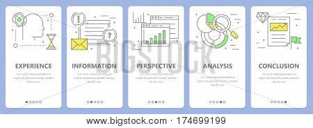 Vector set of decision concept vertical banners. Experience, information, perspective, analysis and conclusion concept elements. Thin line flat design symbols, icons for website menu, print.