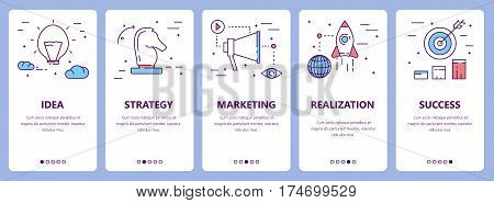 Vector set of project concept vertical banners. Idea, strategy, marketing, realization and success concept elements. Thin line flat design symbols, icons for website menu, print.