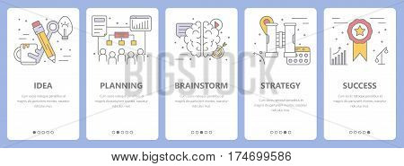 Vector set of startup concept vertical banners. Idea, planning, brainstorm, strategy and success concept elements. Thin line flat design symbols, icons for website menu, print.