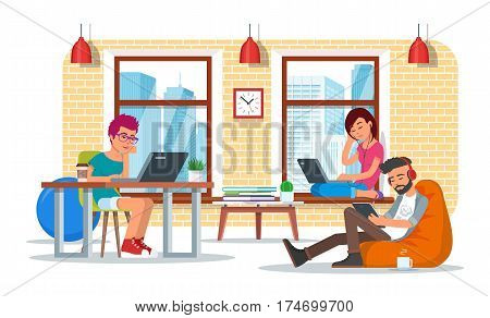Coworking center concept vector illustration. Coworking team. People making use of laptops, tablet, headset and headphones. Flat style design.