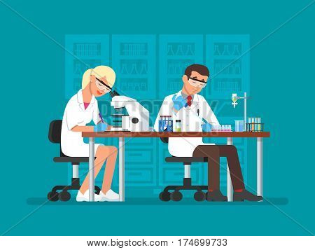 Vector illustration of scientists man and woman working at science lab. Laboratory interior, equipment and lab glassware. Scientific research concept flat style design element.