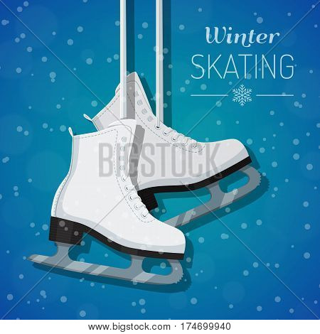 Vector illustration of womans white figure ice skates hanging on laces. Winter holidays card. Winter background with snowflakes. Flat style design.