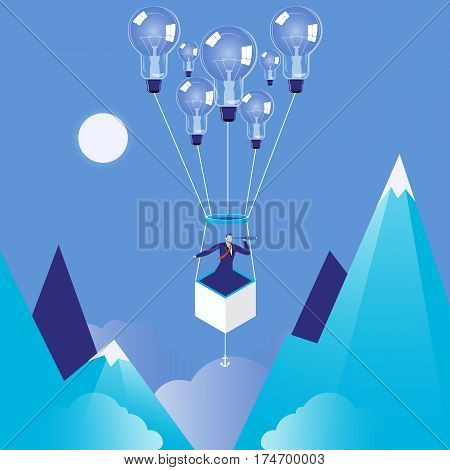 Vector illustration of businesman flying on idea bulb balloon and watching in spyglass. Business vision, new ideas concept design element.